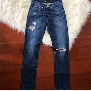 3x1 NYC Distressed Ripped Denim Straight Jeans